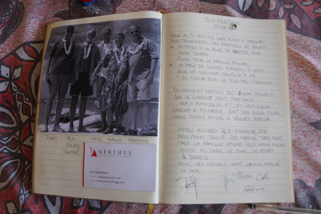 Marias text i gästboken hos våra vänner.