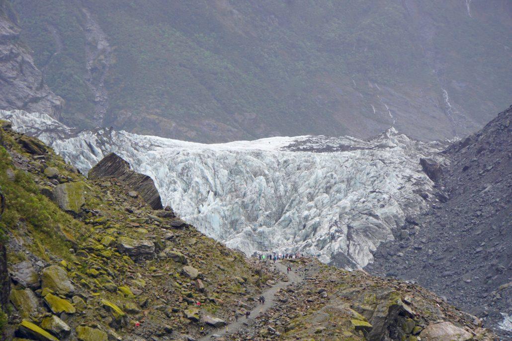 Fox Glacier på lite avstånd.